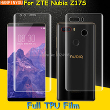 "Front /Back Full Coverage Clear Soft TPU Film Screen Protector For ZTE Nubia Z17S 5.73"", Cover Curved Parts (Not Tempered Glass)"