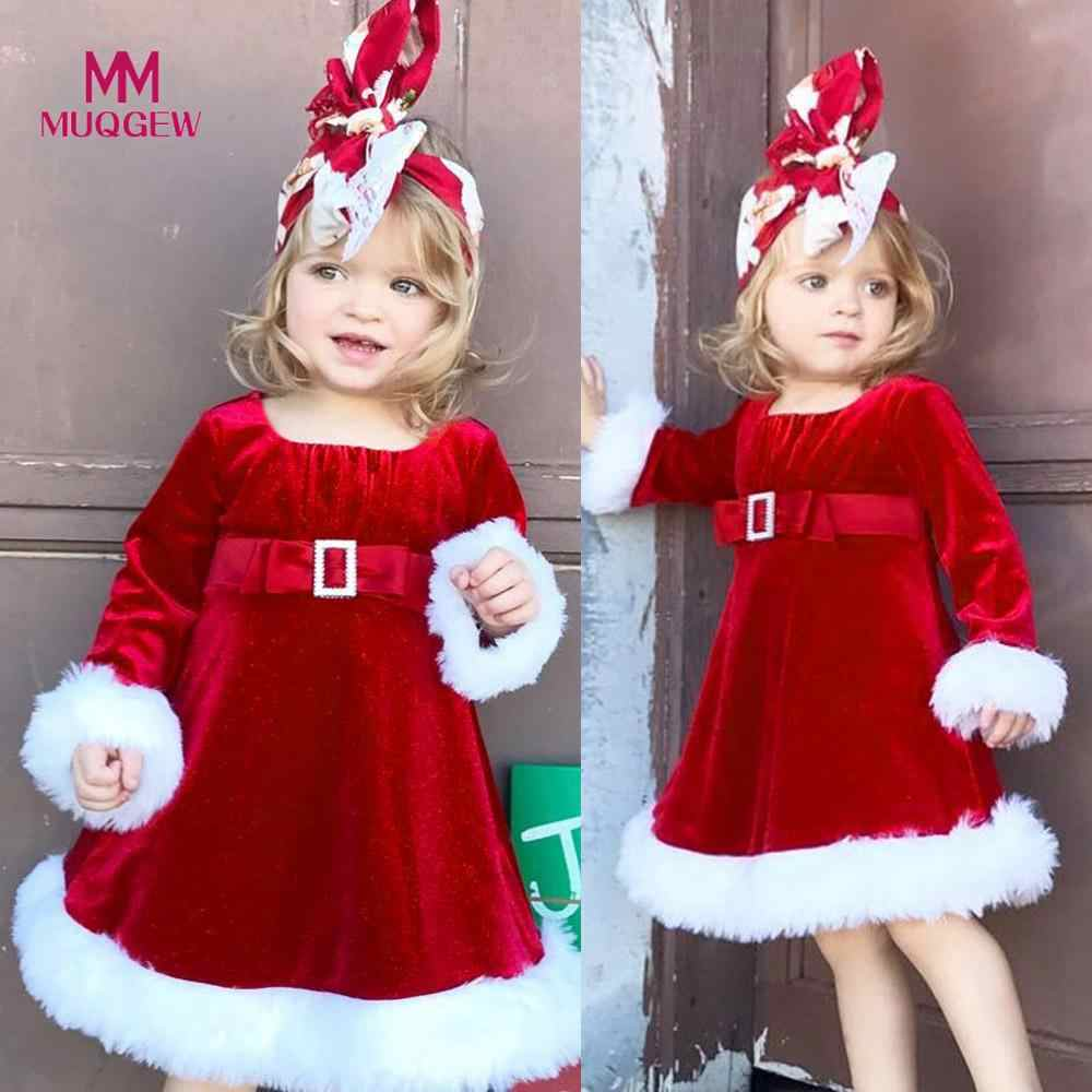 24b51f644b6 New Year Girl Christmas Dress Infant Kids Baby Girl Red Princess Dress  Flannel Fluffy Party Clothes