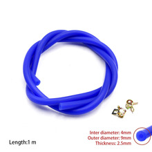 New Silicone Vacuum Hose /Tube Silicone Pipe ID:4mm OD:9mm with Clamp Blue color