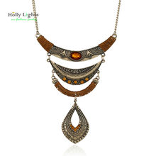 2017 women maxi necklace&pendants vintage bronze boho chocker rhinestone tribal bohemia camel collar ethnic mujer  jewellery hot