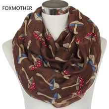 FOXMOTHER 2017 New Lovely Woman Coffee Mushroom Print Infinity Scarf Snood