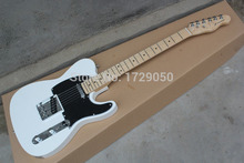Chinese musical Instruments wholesale  New white telecaster 6 Strings Electric Guitar black Pick Guard free shipping