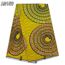 Most popular design African real wax fabric yellow color 100%cotton prints wax fabric for dress AS159