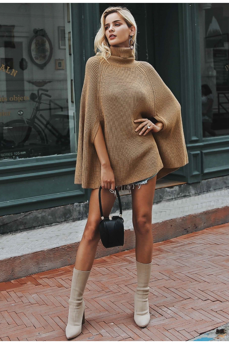 Knitted Turtleneck Cloak Sweater Women Camel Casual Pullover Autumn Winter Streetwear Women Sweaters And Pullovers (Us 12-14)