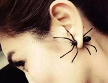 100Pcs Funny Weird Big Black Spider Ear Stud Punk Style Earring Jewelry Fast shipping for DHL TNT Fedex(China)