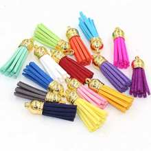 15pcs/lot Suede Tassel For Keychain Cellphone Straps Jewelry Charms,35mm Leather Tassels With Plated Gold Caps Diy Accessories(China)