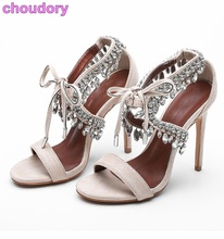 Great Quality Girls Bling Bling Crystal Sandals Tie-up Single Strap Dress Shoes Ankle Rhinestone Stiletto Heel Wedding Sandals