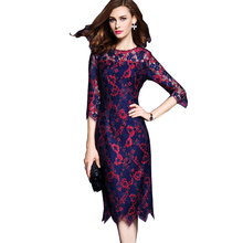 Buy High Quatily Women Lace Dress 2017 Autumn Fashion Runway Dress Half Sleeve O-Neck Flower Print Bodycon Party Dresses Vestidos for $32.69 in AliExpress store