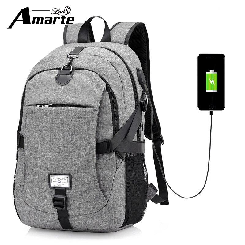 Amarte Women Waterproof USB External Laptop Backpack Men Backpacks Big Capacity for Male Female Travel Backpack Women School Bag<br>