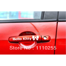 Aliauto 4 x car-styling Hello Kitty Car Handle Door Handle Stickers and decal accessories For Ford Lada BMW Benz Chevrolet Tesla(China)
