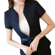 SEYAM Summer Short Sleeve Jacket Blazer Women S-5XL Single Button Bow Feminino Office Black Blazer ow0316