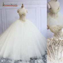 Amanda Novias abito da sposa Handwork Beads Pearls See Through Sexy Wedding Dress