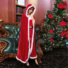 Free Shipping Christmas Cape Adult Sexy Long Christmas Costume Santa Claus Hooded Cloak Costume only Cloak(China)