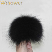 15cm Real Raccoon Fur Pom Pom Large Fox Fur Pompom For Hat Bag Scarf Gloves Black White Navy Red Rose Purple Gray Coffee Blue