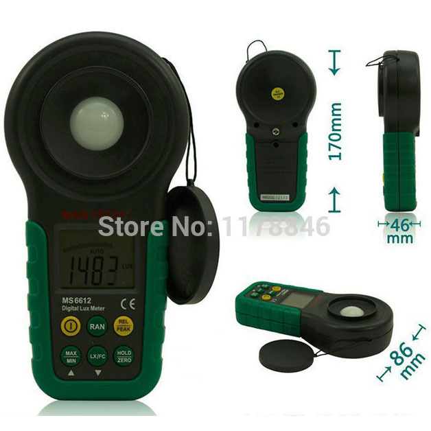 Mastech MS6612 Digital Luxmeter Illuminometer Light Meter Foot Candle Auto Range Peak 200000 Lux<br>