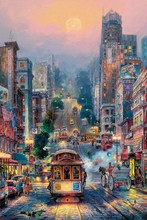 Embroidery Romantic town Bustling market Needlework Crafts 14CT Unprinted Scenery DMC DIY Cross Stitch Kits Handmade Arts Decor(China)