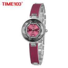 2017 Time100 Women Watches Bracelet Stainless Steel Cutting Diamond Mirror Crystal Dial Ladies Qaurtz Watch For Women Elegance(China)