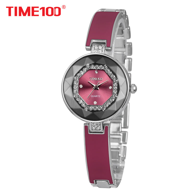2017 Time100 Women Watches Bracelet Stainless Steel Cutting Diamond Mirror Crystal Dial Ladies Qaurtz Watch For Women Elegance<br>