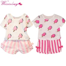 Summer Kids Baby Girls Clothing Set Ice Cream Printed T-shirt Tops +Striped Bow Shorts 2 pcs Sets 1-6Y(China)