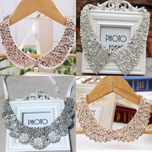 Silk and champagne fake necklace collar women beaded sequined  collar  with toothed  order 10usd
