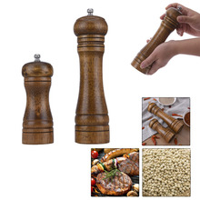 Salt And Pepper Grinder Hand Movement Oak Wood Pepper Mill With Ceramic Grinding Cord Kitchen cooking tools 5/8 inch(China)