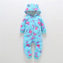 Boy Girl Clothes Baby Rompers Fleece 2018autumn&winter Baby Newborn Clothing One Piece Green Wave Point Romper Hooded Sleepwear