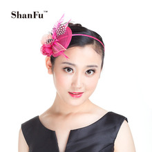 ShanFu New Designer Women Fascinator Wedding Party Hair Acessories Handmade Sinamay Feather Headpiece SFD2801