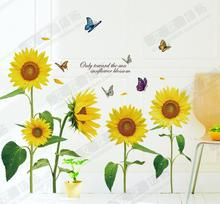 3D Wallpaper Plant Sunflowers Wall Sticker Home Decor Kids Room PVC Poster Glass Window Fridge Picture Store Poster Removable