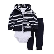 2018 New 3pcs lots Baby Boys Girls Long Sleeve bodysuit Pants, dinosaur Monster 100% Cotton Fleece Hooded jacket Out Cloth Sets(China)