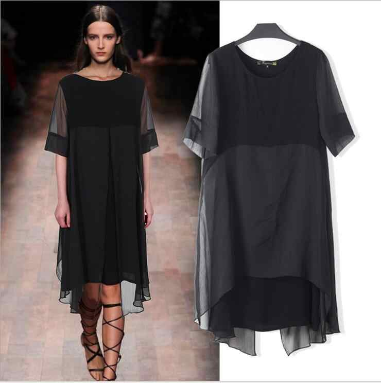 summer ladies Women s clothing plus-size loose net yarn hollow out two  piece chiffon large c645ded56402