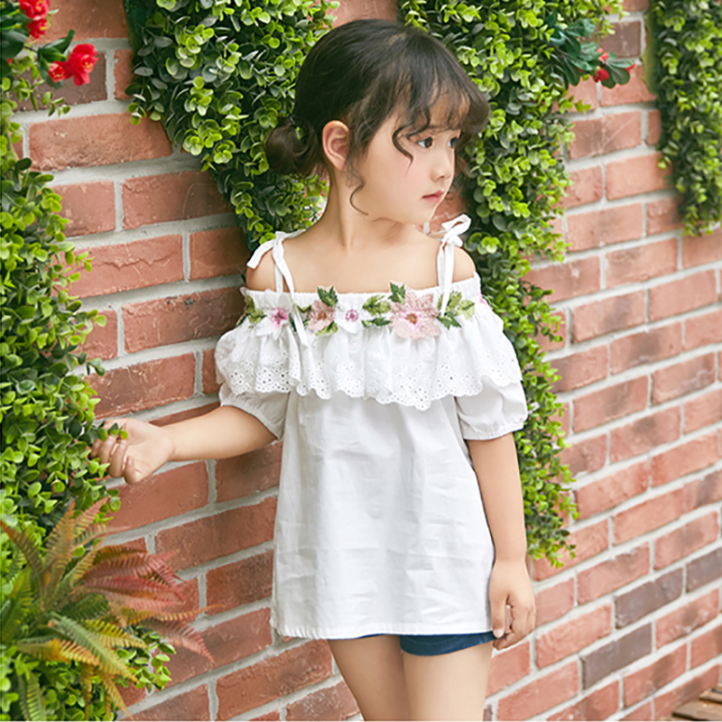 Chidren Letong 2017 Summer white lace doll baby girl dress Cute comfortable printed Stereo embroidery 3t-11t free shipping<br>