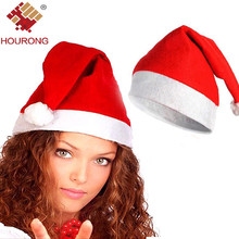 Hourong 1Pc New Adult Decorative Christmas Hat Santa Claus Hats Cotton Ultra Soft Plush Xmas Decoration Sata Caps With Ball