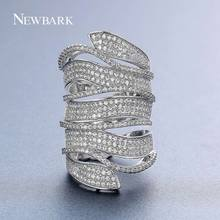NEWBARK Brand New Big Long Rings for Women Cubic Zirconia Silver Color Full Finger Ring Knuckle 4 Circles Surrounded Bijoux