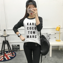 Autumn women t shirt KARL COCO TOM MARC black printing hot sale woman long sleeves casual female t-shirt lady clothes PJT-F11874