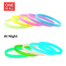 One Is All 3pcs New Fashion Glow in Dark Luminous bracelet Elastic Rubber wristband basketball silicone bracelets bangle women