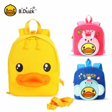 B.Duck Cute Cartoon Duck Baby Harness Toddler Backpack Walking Safety Anti-lost Backpack(China)