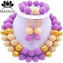 Majalia Fashion Lilac and Beige Lady Nigerian Wedding African Jewelry Set Plastic Beads Bride Jewelry Sets 2QW026(China)