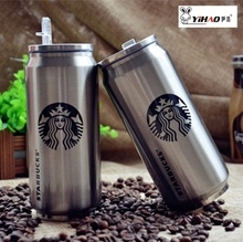 Cans keep-warm glass starbucks with creative keep-warm glass double layer stainless steel vacuum cup coffee cup