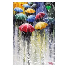 Diamond painting embroidery kit pictures of rhinestones new needlework home decoration paint rain and umbrella needlework crafts(China)