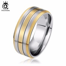 ORSA JEWELS New Fashion Brand 316 Stainless Steel Rings Lead & Nickel Free Gold-Color Luxury Men's Party Ring Jewelry GTR01