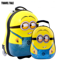 TRAVEL TALE Minion patterned printing panda kids luggage sets,penguin cartoon suitcase for child