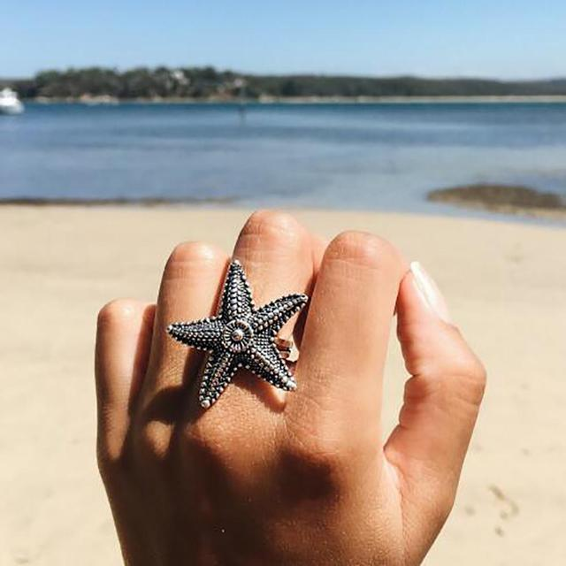 Vintage Women Starfish Finger Ring Party Banquet Club Jewelry Birthday Gift stainless steel rings for women bijoux femme hot