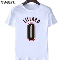 Damian Lillard T Shirt Tops 2017 Men O-neck Sleeve Cotton Men Damian Lillard Logo Shirt Clothing Tee Free Shipping