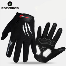 ROCKBROS Bike Bicycle Gloves Full Finger Bike Bicycle MTB Gloves Touch Screen Gel Padded Breathable Shockproof For Men Women