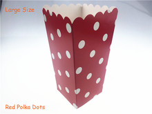 Set of 12 (12pcs/lot) Big Red Polka Dots Paper Popcorn Boxes Candy Bags Treat Children Birthday Wedding Party Supplies