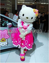 Hot Sale Pink Hello Kitty Plush Mascot Costume Adult Size Fancy Dress With Fan & Helmet()
