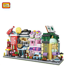 Mini DIY Bricks Blocks Street City Series Cake Shop Drink Music Book Store Model Compatible Toys Kids Gifts Building Blocks Set