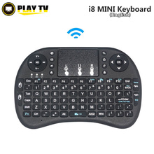 original i8 2.4G mini wireless English lithium rechargeable battery keyboard Air Mouse and Touchpad for android tv box PC Laptop(China)