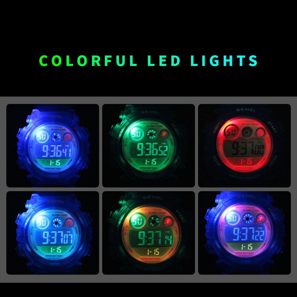 SKMEI Brand Sport Children Watch Waterproof LED Digital Kids Watches Luxury Electronic Watch for Kids Children Boys Girls Gifts