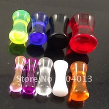 120pcs Free Shipping mixed 6 sizes & colors cylinder Acrylic Ear Plug Flesh Tunnel UV piercing jewelry
